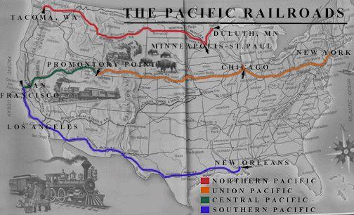 Transcontinental Railroad Map Transcontinental Us Railroads - Us-transcontinental-railroad-map