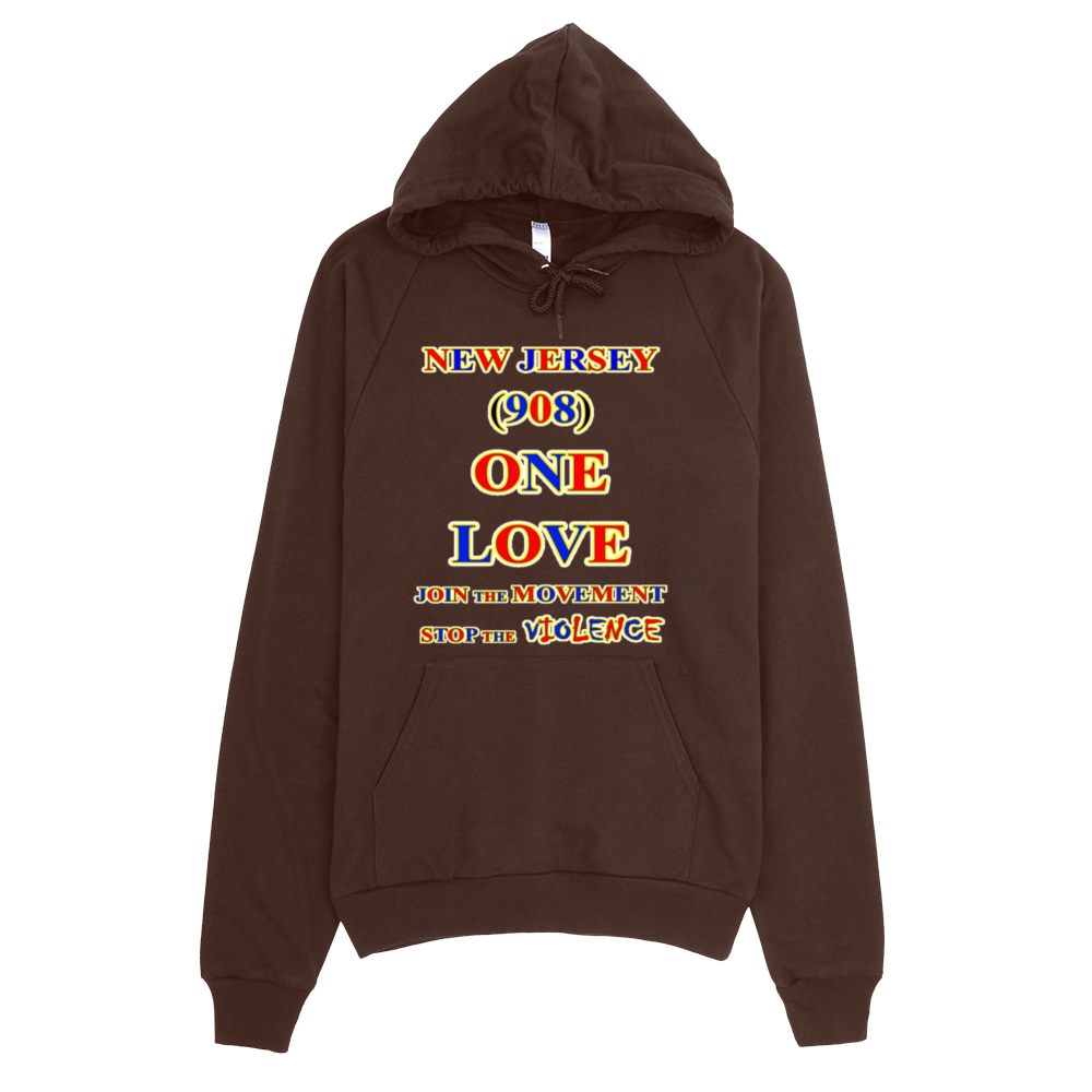 H NEW JERSEY Area Code ONE LOVE HOODIE - Area code 908