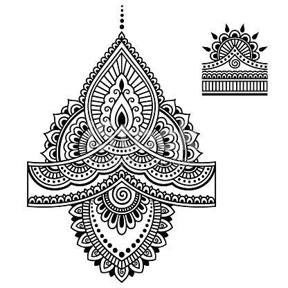 Henna Tattoo Blume Vorlage Im Indischen Stil 0
