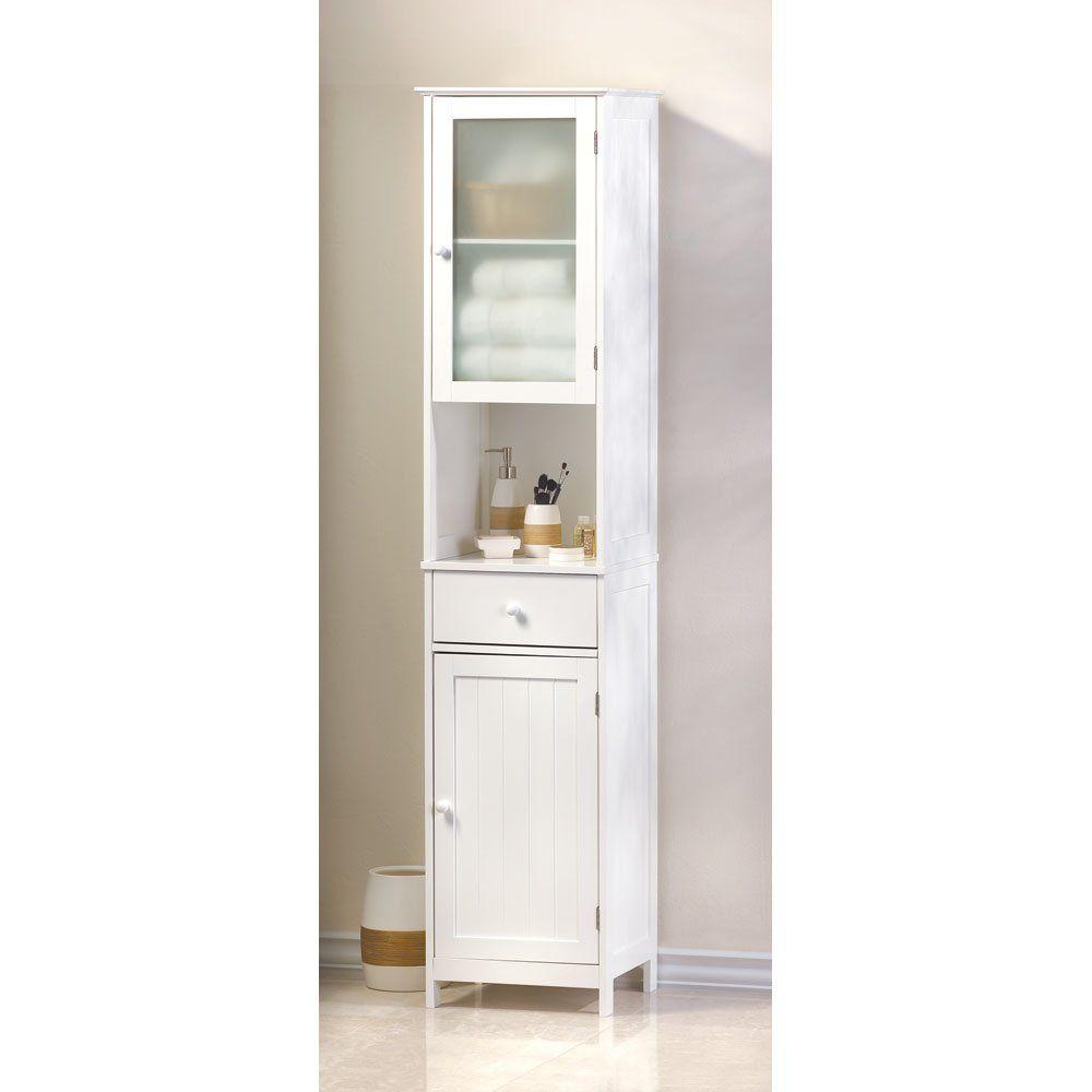 Hallway storage cabinet  Amazon  Home Locomotion Tall White Storage Cabinet  Bathroom