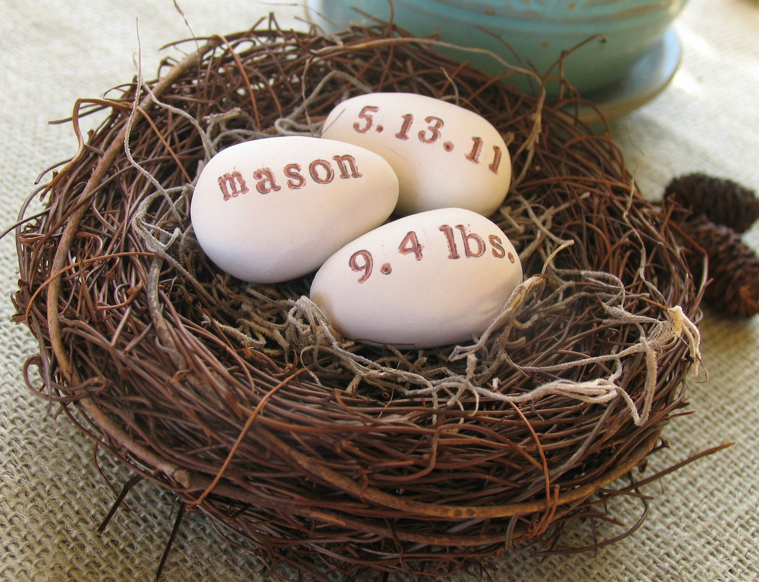 personalized baby announcement nest 3 clay bird eggs woodland