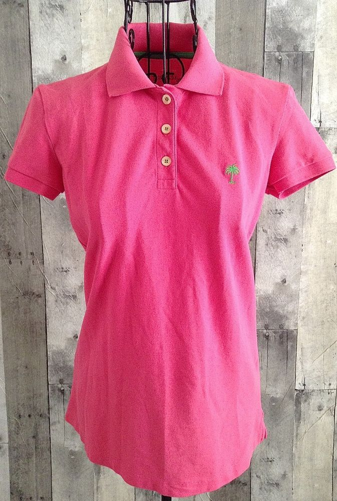 46b96694f Lilly Pulitzer Island Polo Top Shirt Cotton Blend Pique Pink Womens Size XS…
