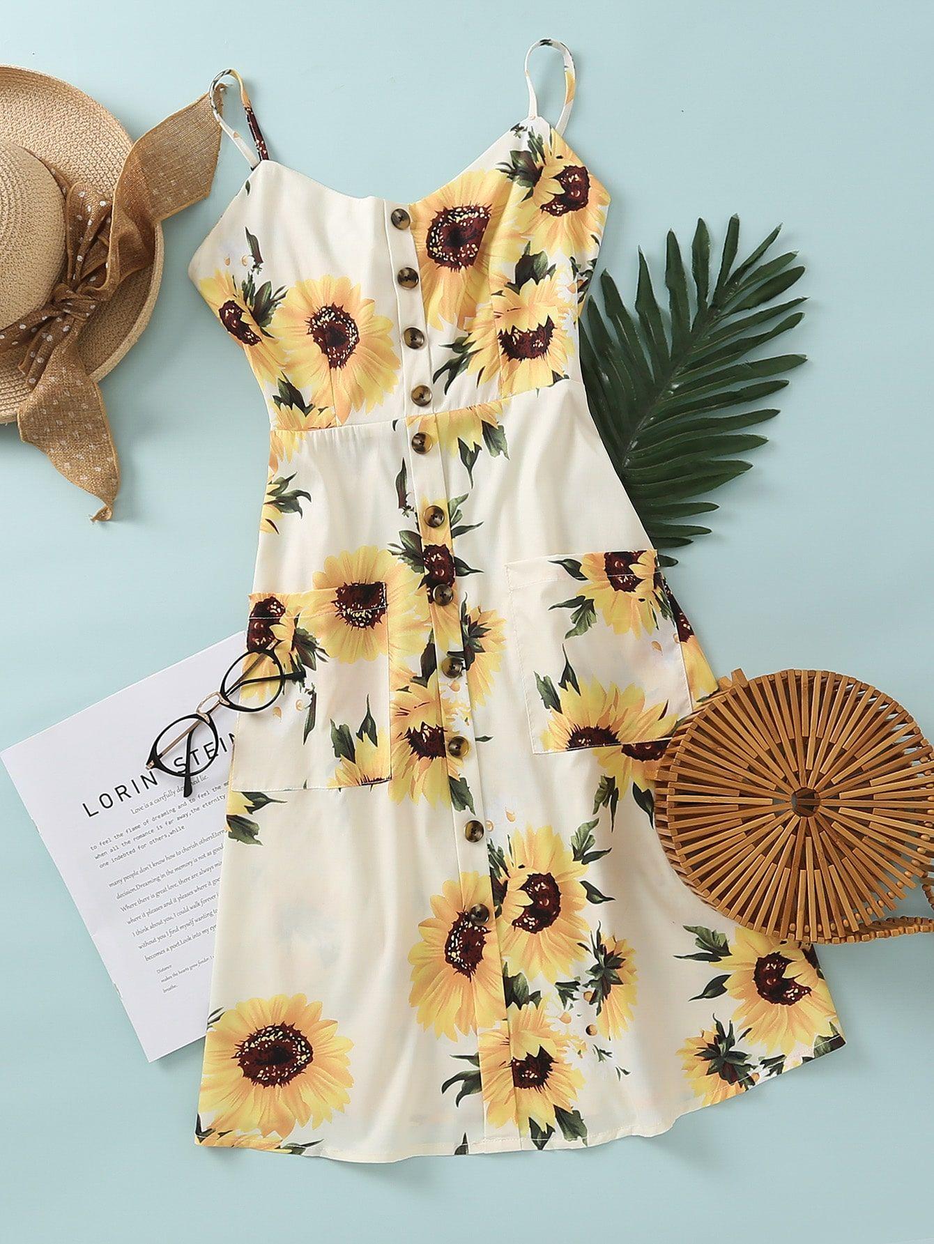 Sunflower Print Shirred Back Cami Dress Shein Usa Cami Dress Dresses Sunflower Print [ 1785 x 1340 Pixel ]