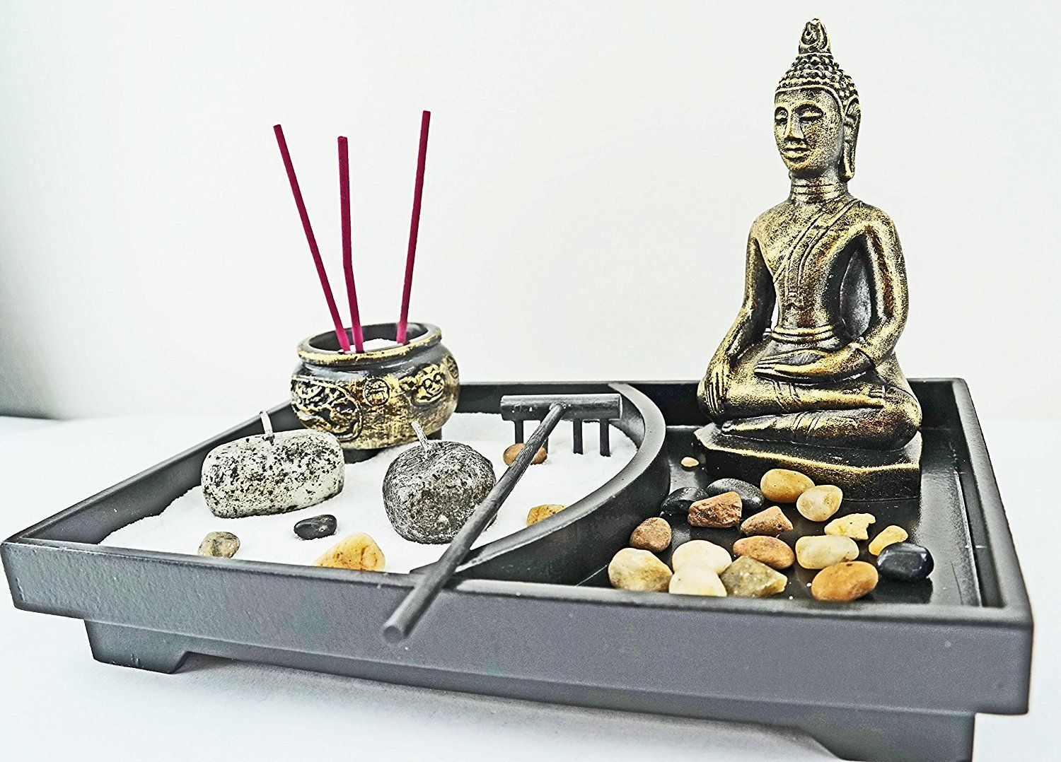 Tabletop incense burner gifts and decor zen garden kit with statue