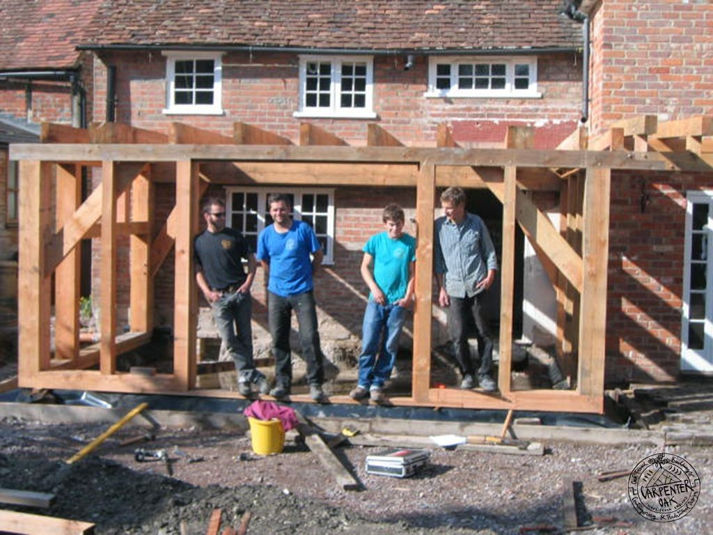 Perfect Carpentry Site Team With Douglas Fir Framed Kitchen Extension In Oxon