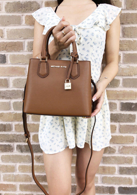 ac8d70915552 Michael Kors Adele Mercer Medium Messenger Bag Luggage - Gaby's Bags