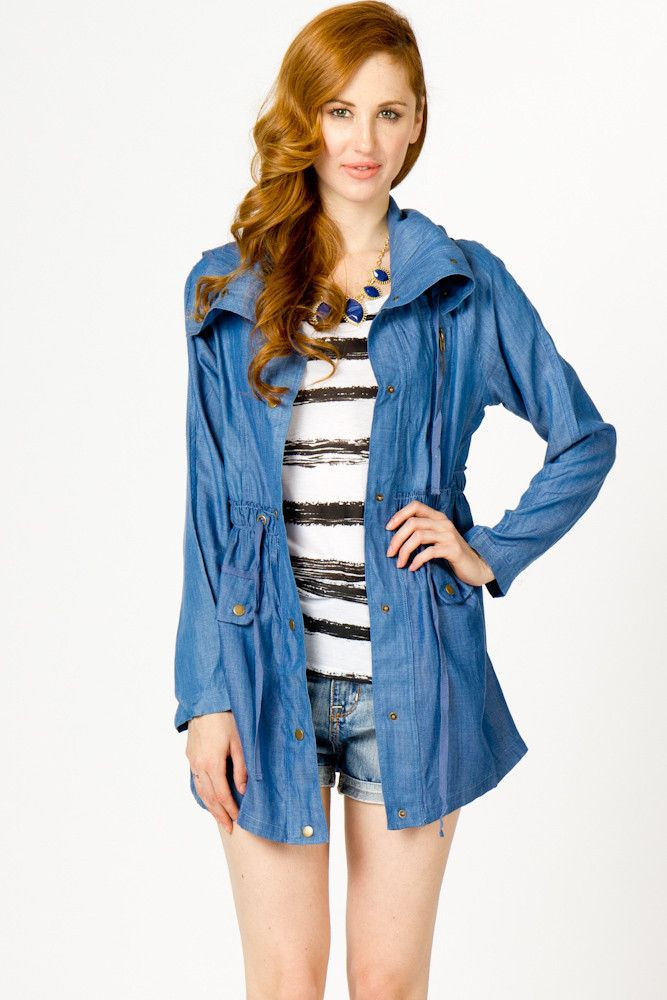 lightweight chambray military jacket.