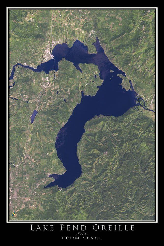 Lake Pend Oreille Idaho Satellite Poster Map in 2019