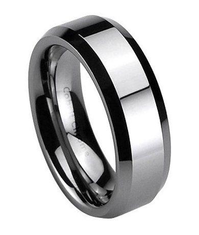 Cobalt Chrome Wedding Band For Men Polished Beveled Edges 7mm