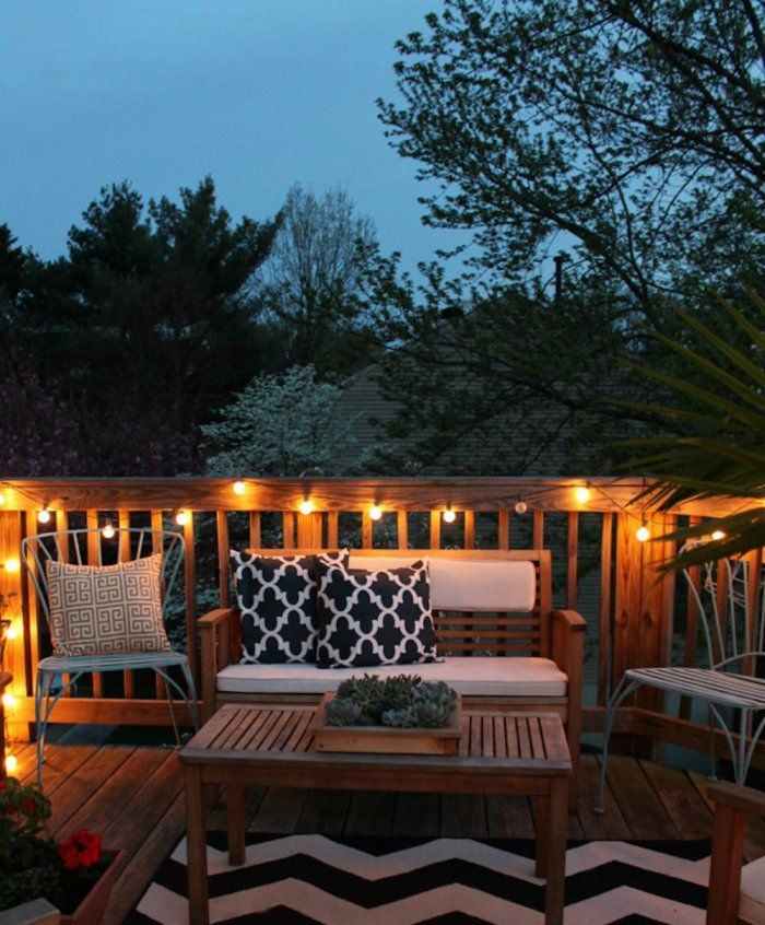 How to Decorate a Small Patio  Projects Tips  Tricks  Deck decorating Outdoor deck lighting