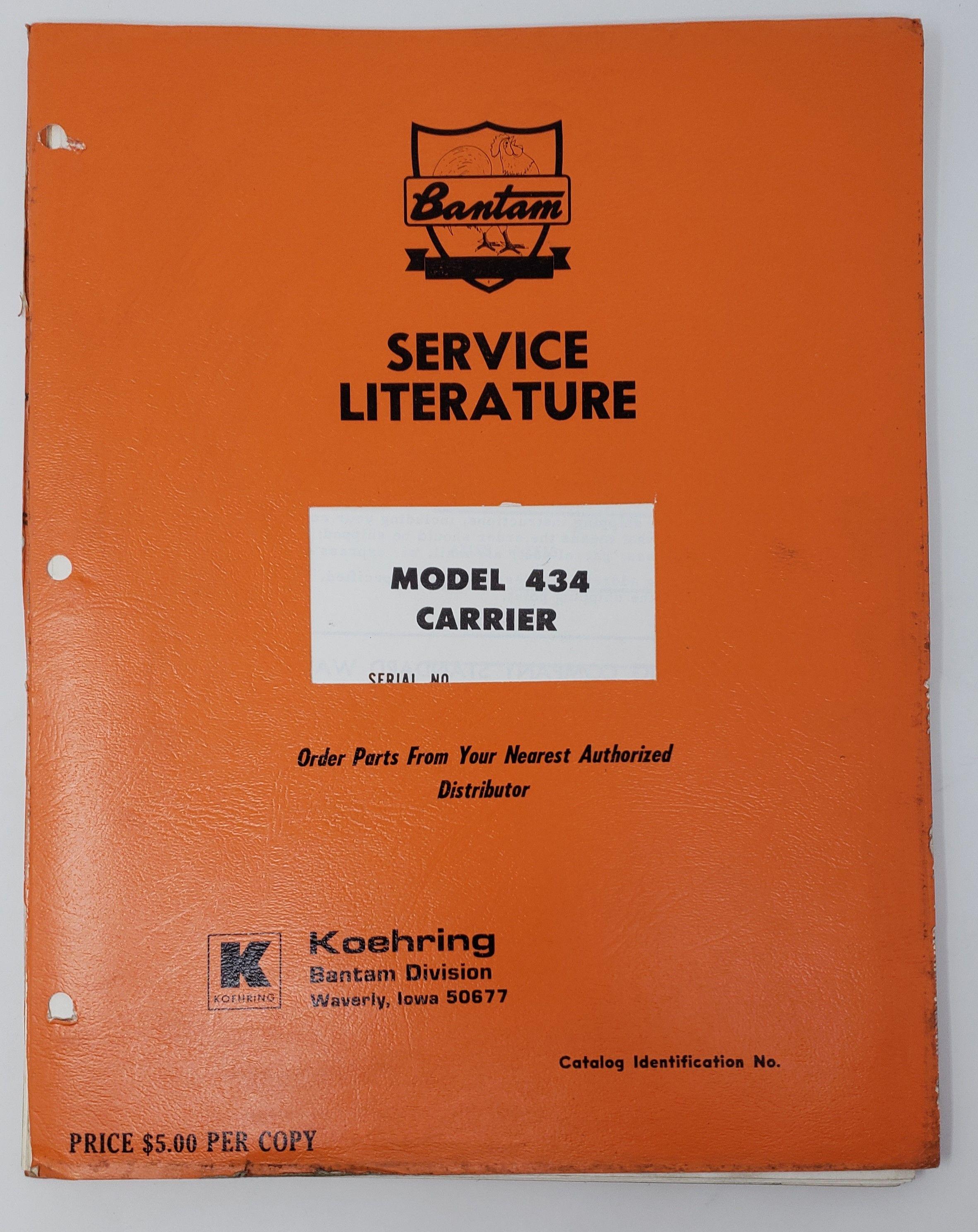 Koehring Bantam Model 434 Carrier Service Manual Issued September Of 1970 Bantam Manual Carriers