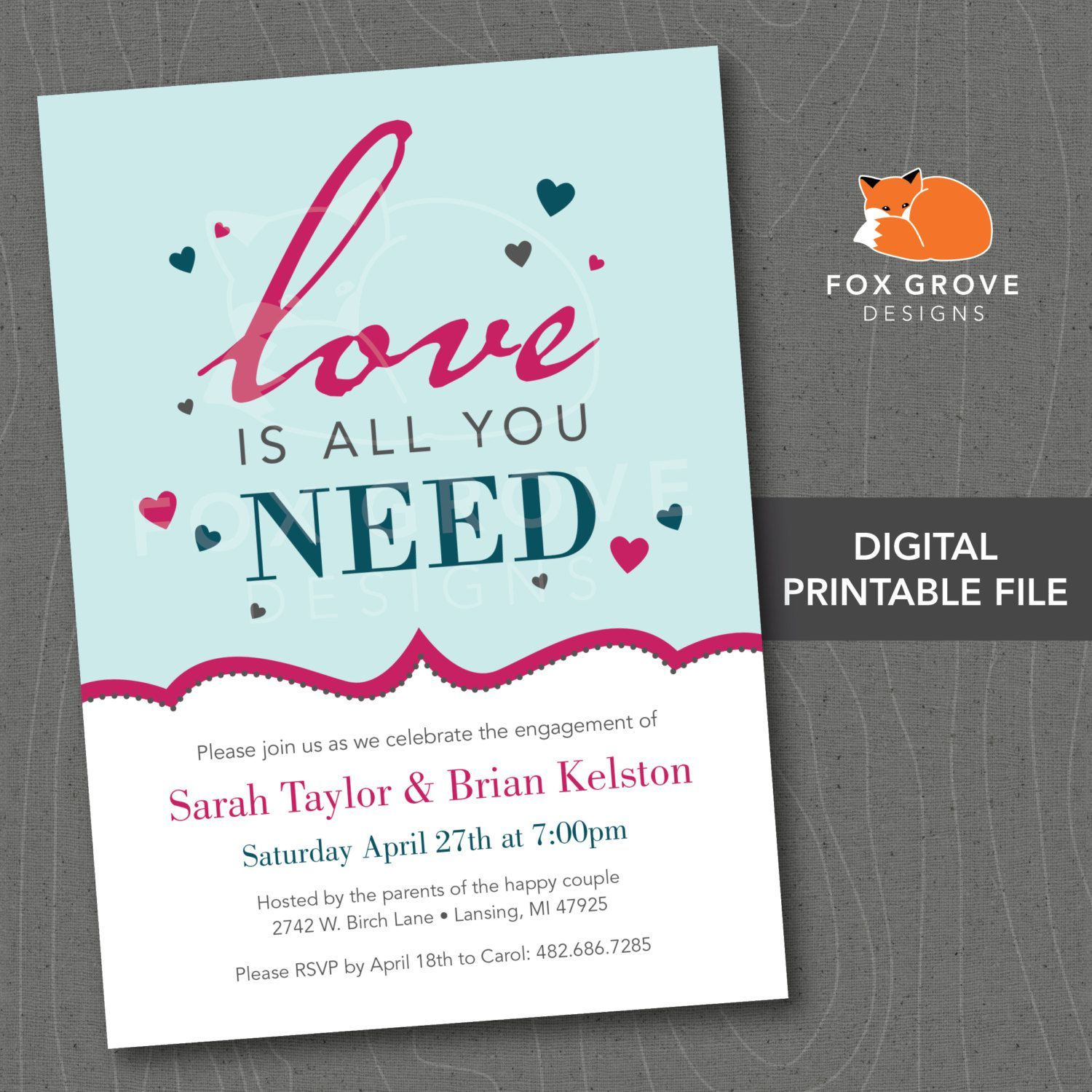 engagement party invitations vistaprint | Invitations card template ...