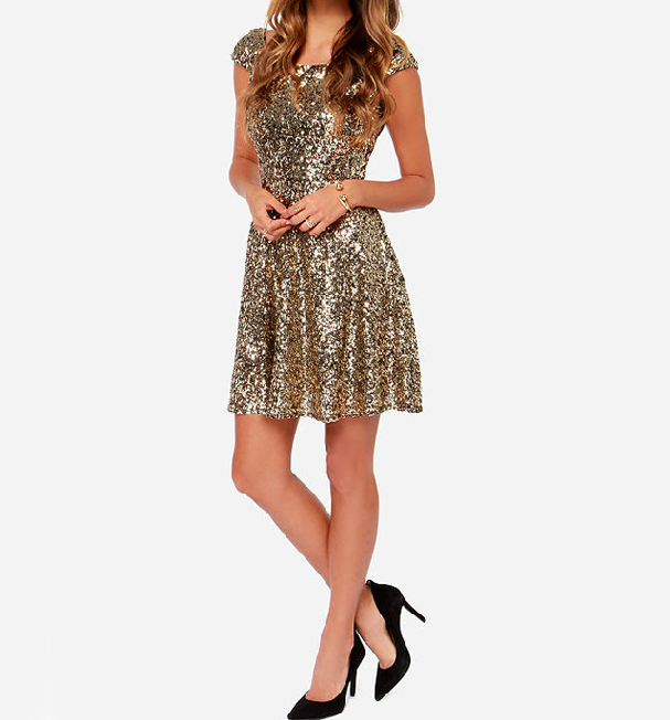 a01dc884 Sexy Gold Sequined V-neck Halter Dress FG5617JH in 2019 | Erin ...