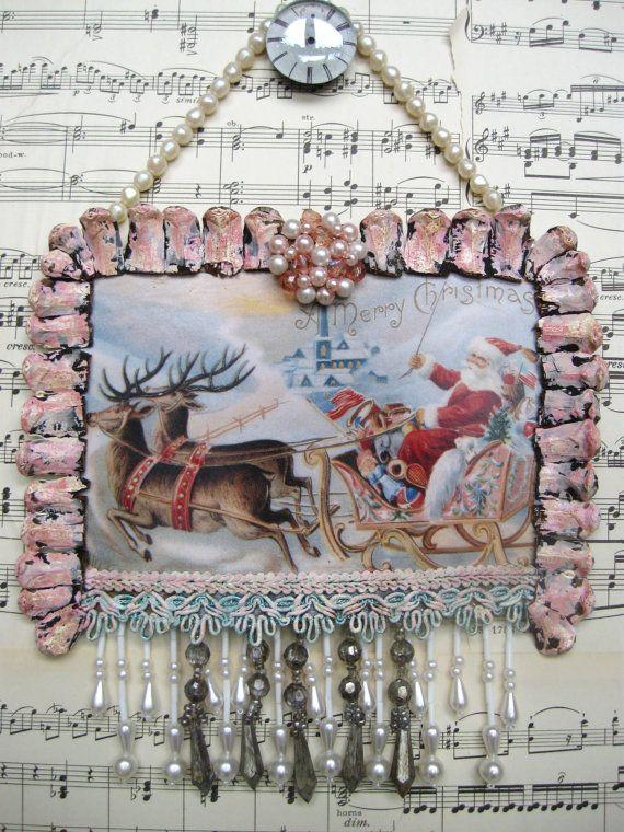 shabby chic vintage christmas decoration santa reindeer sleigh shabby pink aqua ornament vintage handmade holiday ooak 7 x 7 14 - Handmade Shabby Chic Christmas Decorations