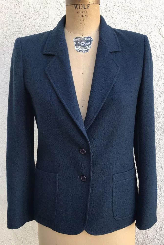 Vintage Jaeger Women's London Navy Boucle Wool Tailored