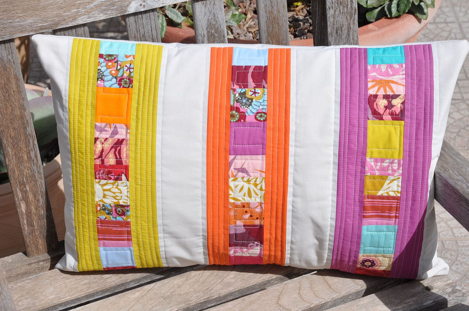 Modern Patchwork Pillow Cover Half Rainbow Number 1 by skalabara. $60.00, via Etsy.