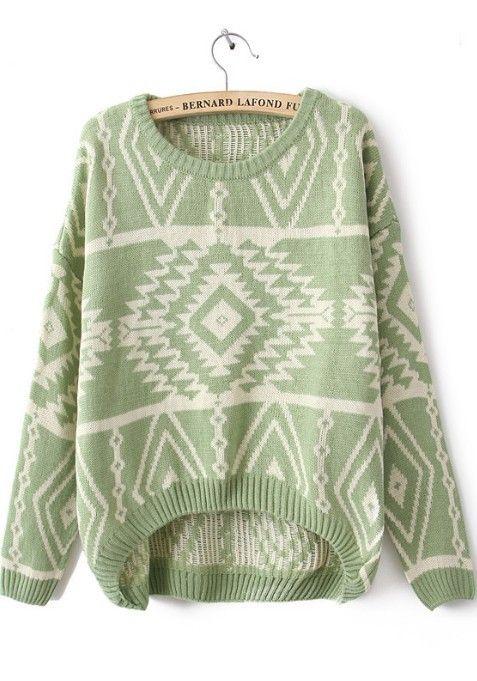 74c10adac1a412 Shop Green Long Sleeve Geometric Pullovers Sweater online. Sheinside offers  Green Long Sleeve Geometric Pullovers