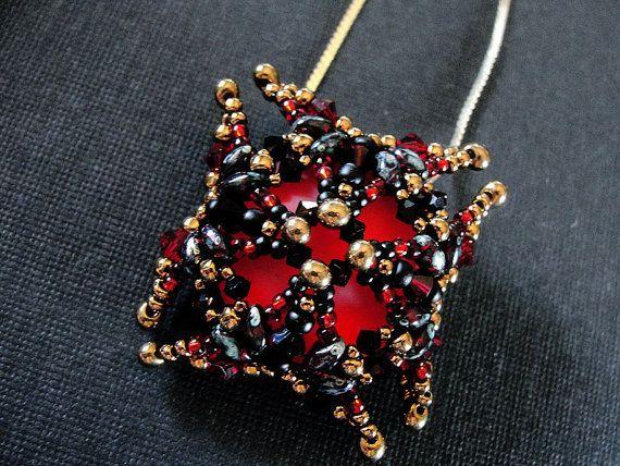 Magma Red Luna Soft Square Pendant от tattooedraven на Etsy