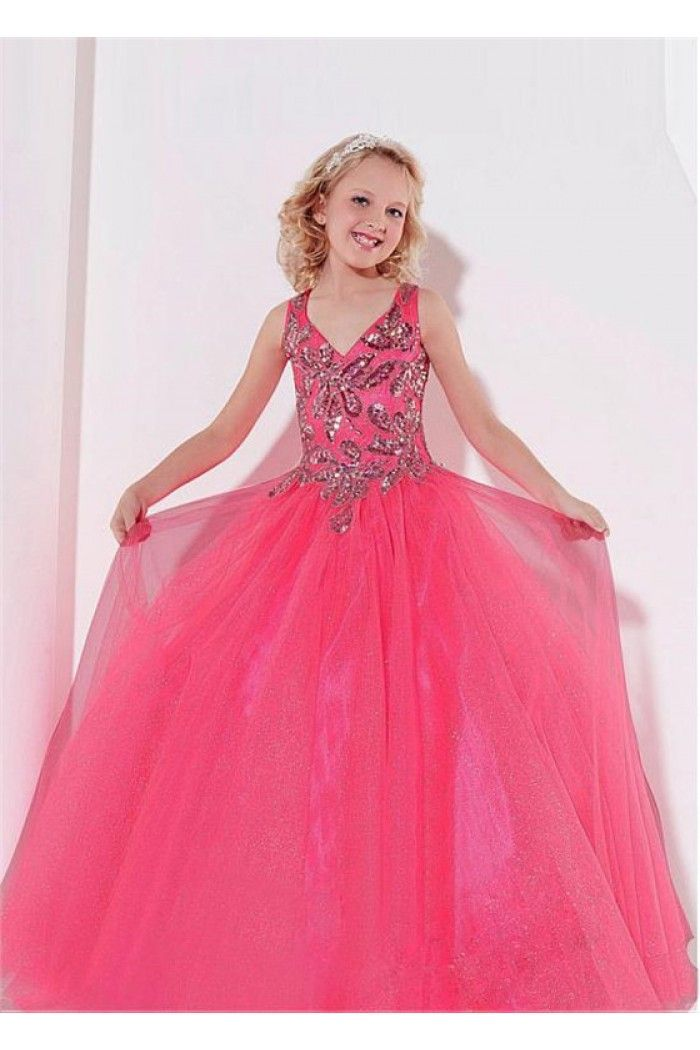 Lovely Ball Gown Neon Pink Tulle Beaded Glitter Little Girls Pageant ...