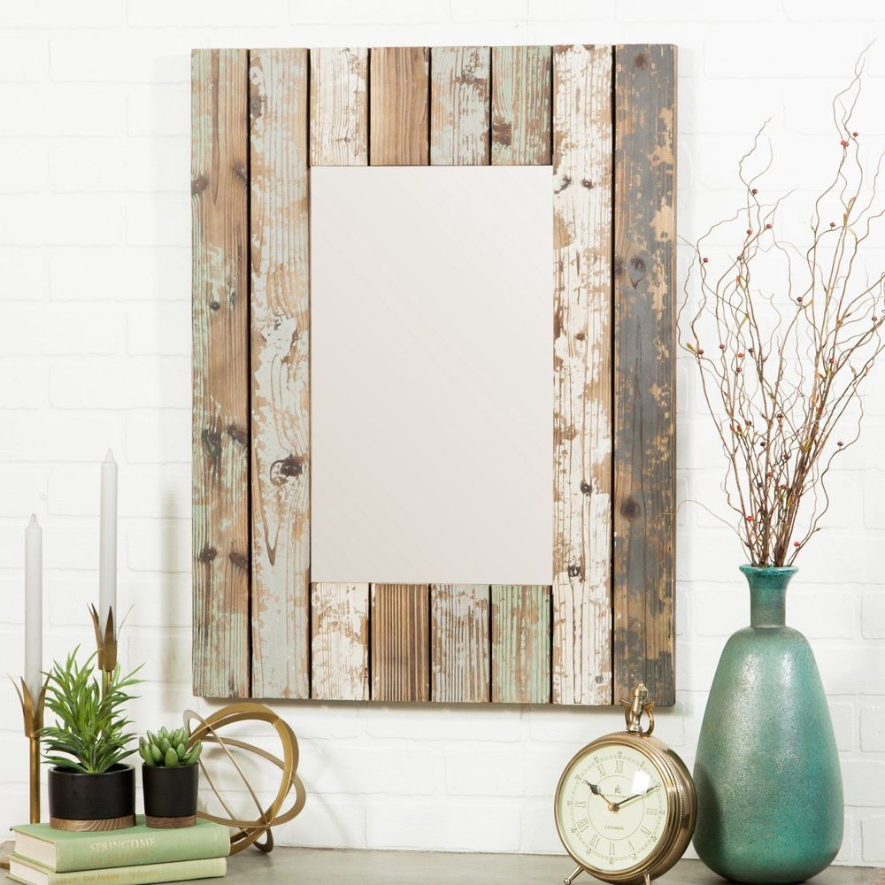 Rustic Wall Mirror Wood Frame Distressed Home Decor