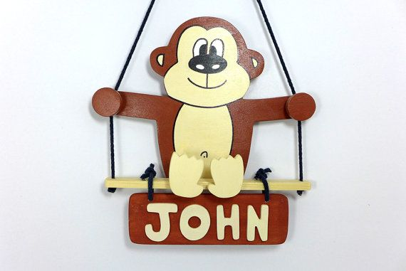 Handmade Wooden Children's Room Door Sign  Monkey by aowoodentoys