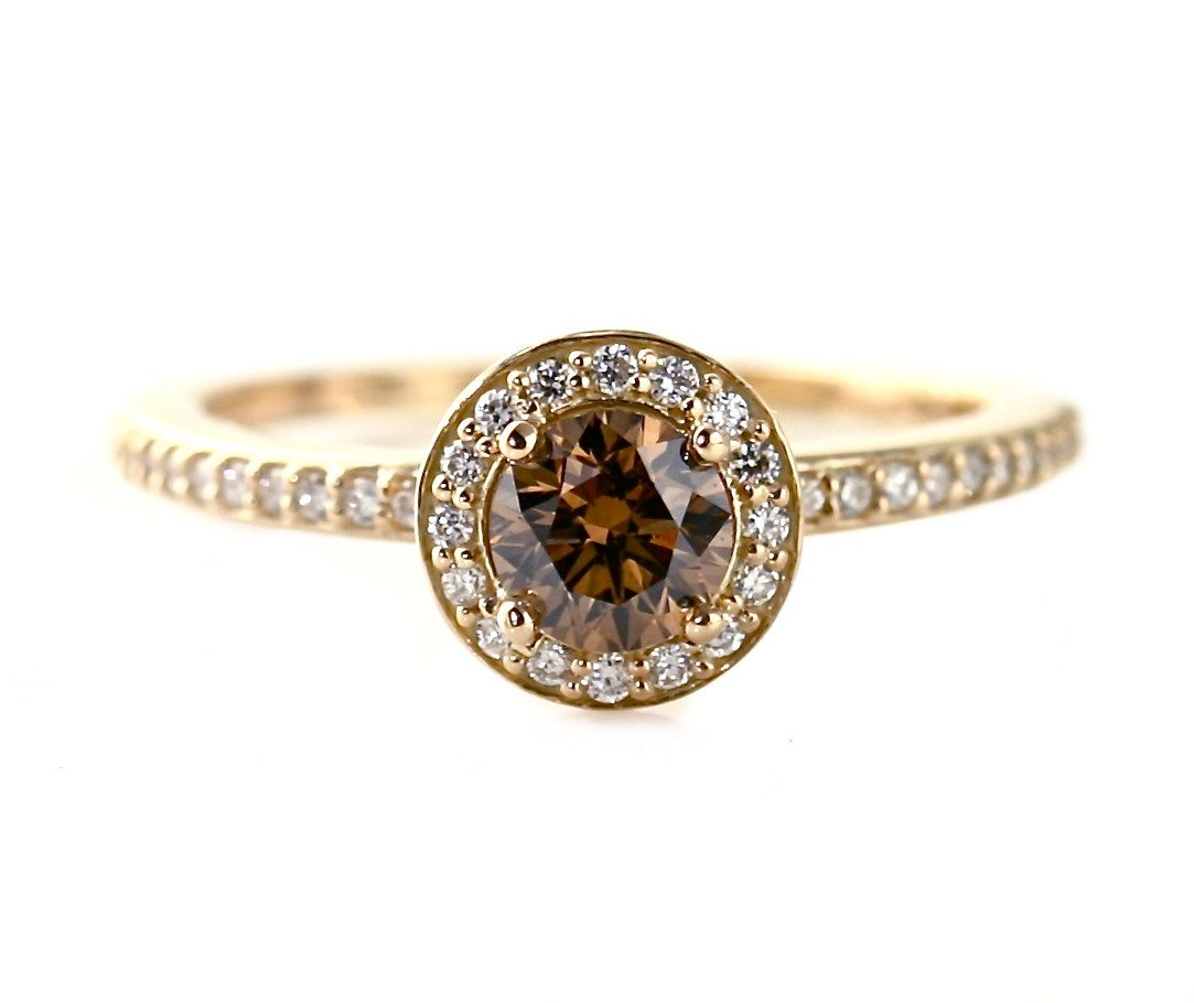 14K gold Chocolate Diamond Engagement Ring with halo via RareEarth