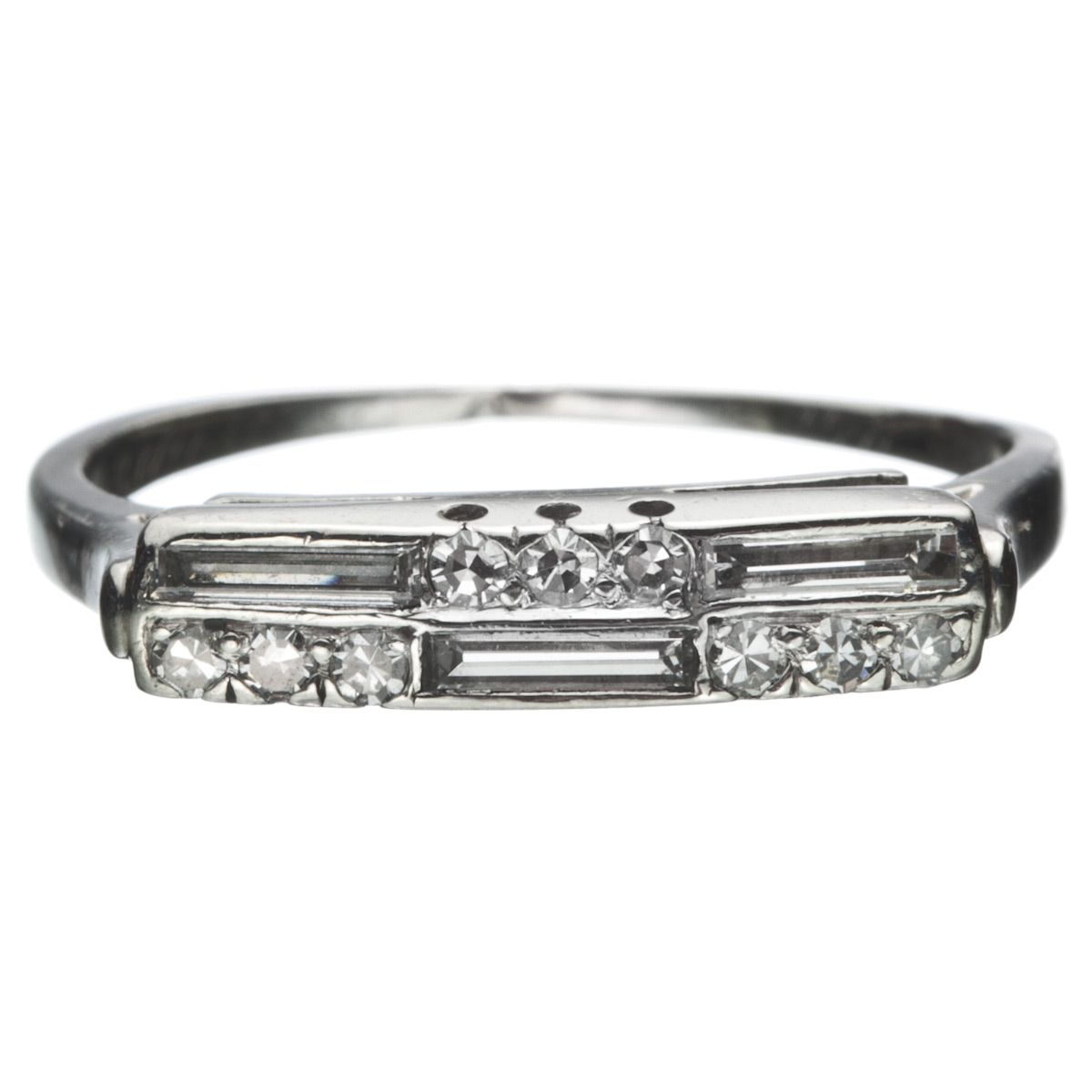 14k White Gold Diamond Deco Ring :: Antique Jewelry ...