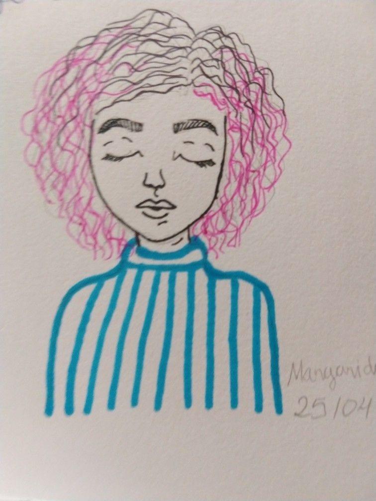 Desenho De Mulher Triste Cabelo Rosa Mulher Desenho Mulher