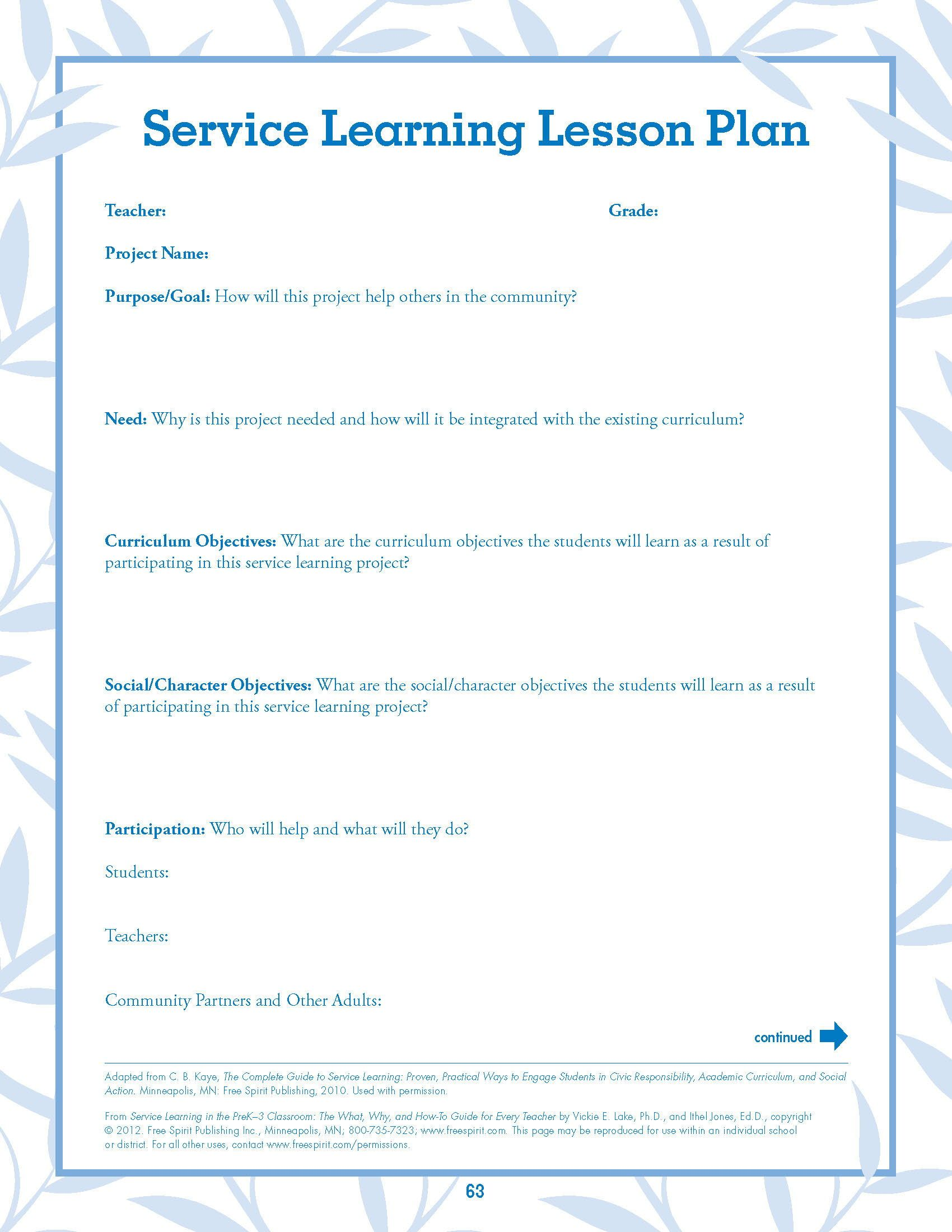 Free Worksheet Service Learning Lesson Plan From Service