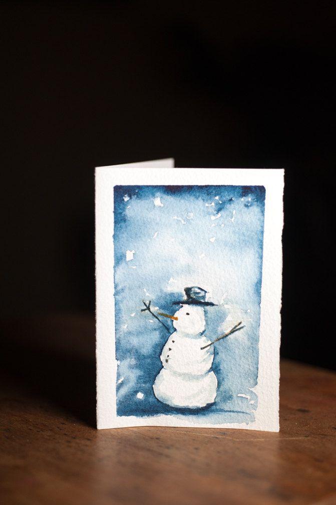 Snowman Watercolor Christmas Card Hand Painted Original Artwork