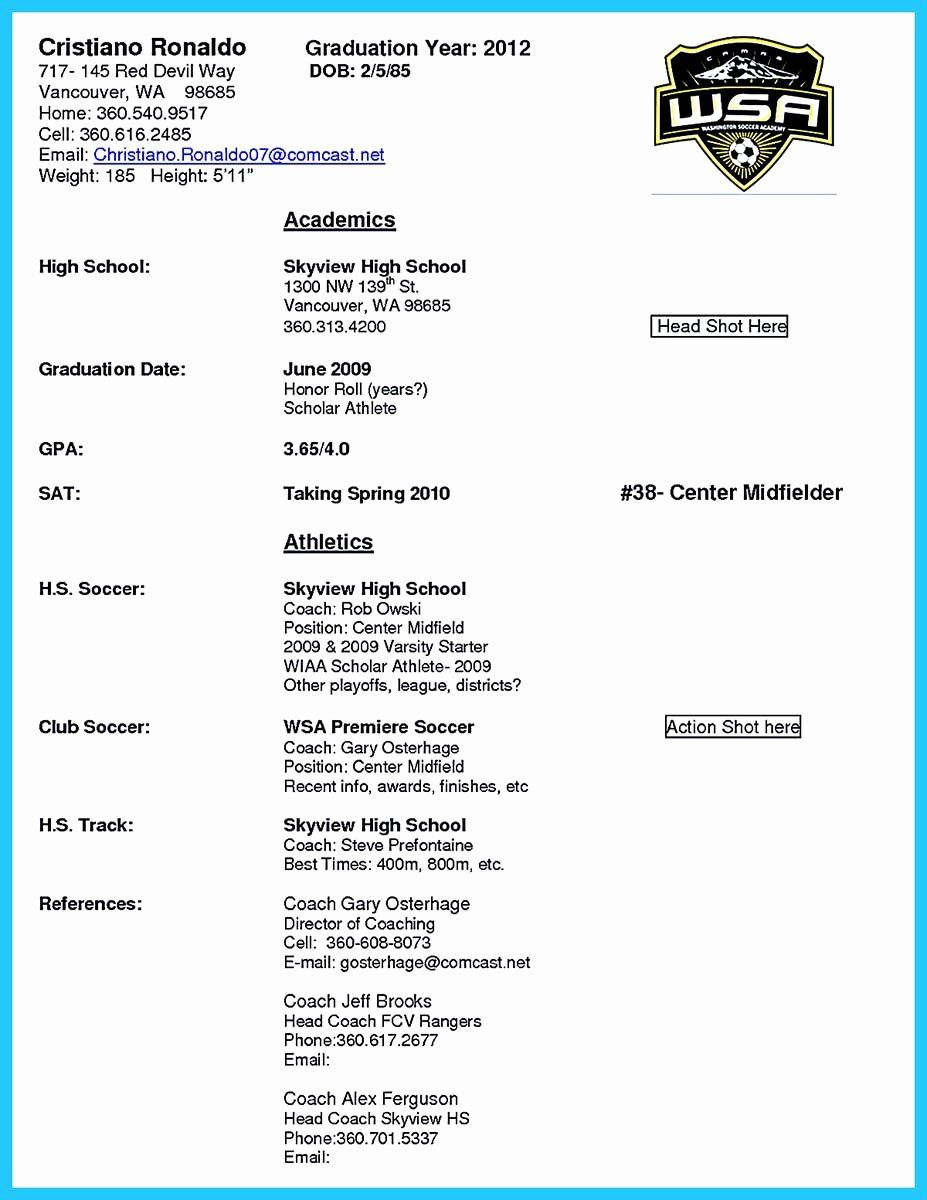 Soccer Player Resume Template New Captivating Thing for