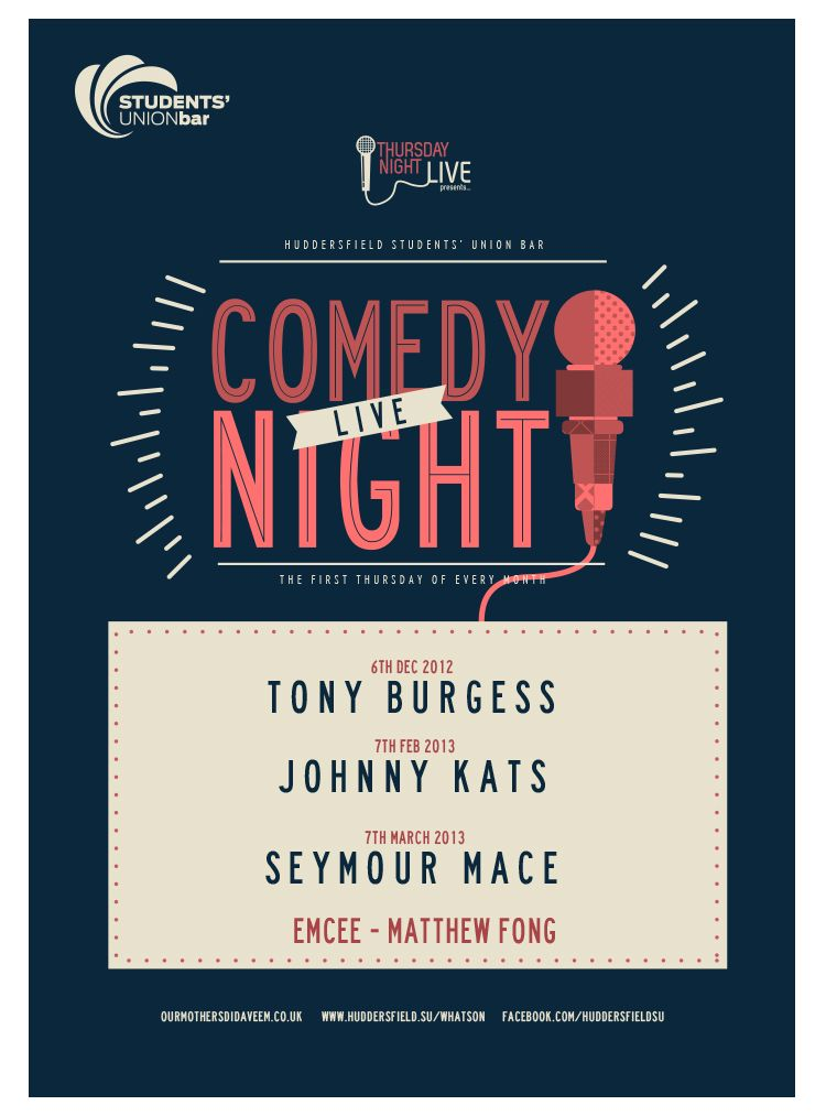 Students Live Comedy Event Poster Lucas Jubb Illustration Comedy Events Event Poster Graphic Design