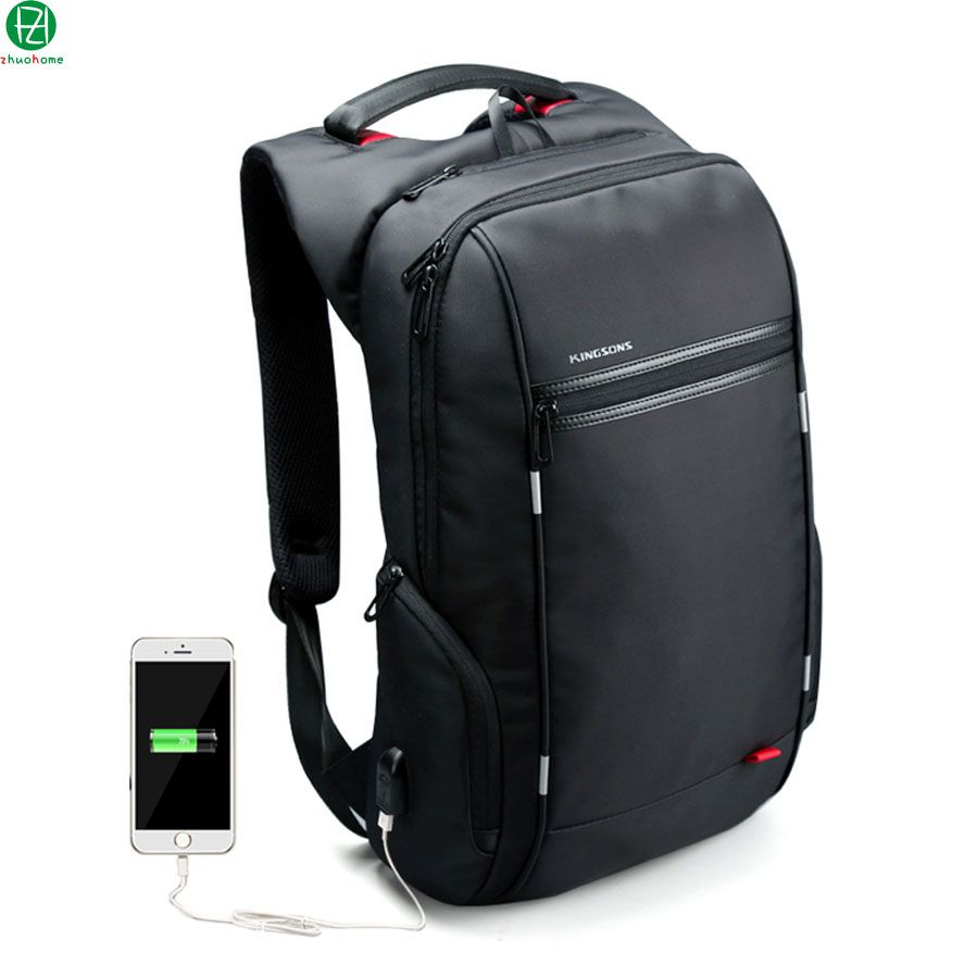 78300dc39c62 Brand External USB Charge Computer Bag Anti-theft Notebook Backpack 15 17  inch black Waterproof Laptop Backpack for Men Women