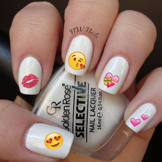 Valentines Day Heart Emoji Nail Decals by NWDesignStudio on Easy ...