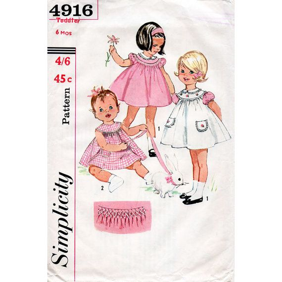 1960s Baby\'s Sun Dress and Pinafore Pattern with by BessieAndMaive ...