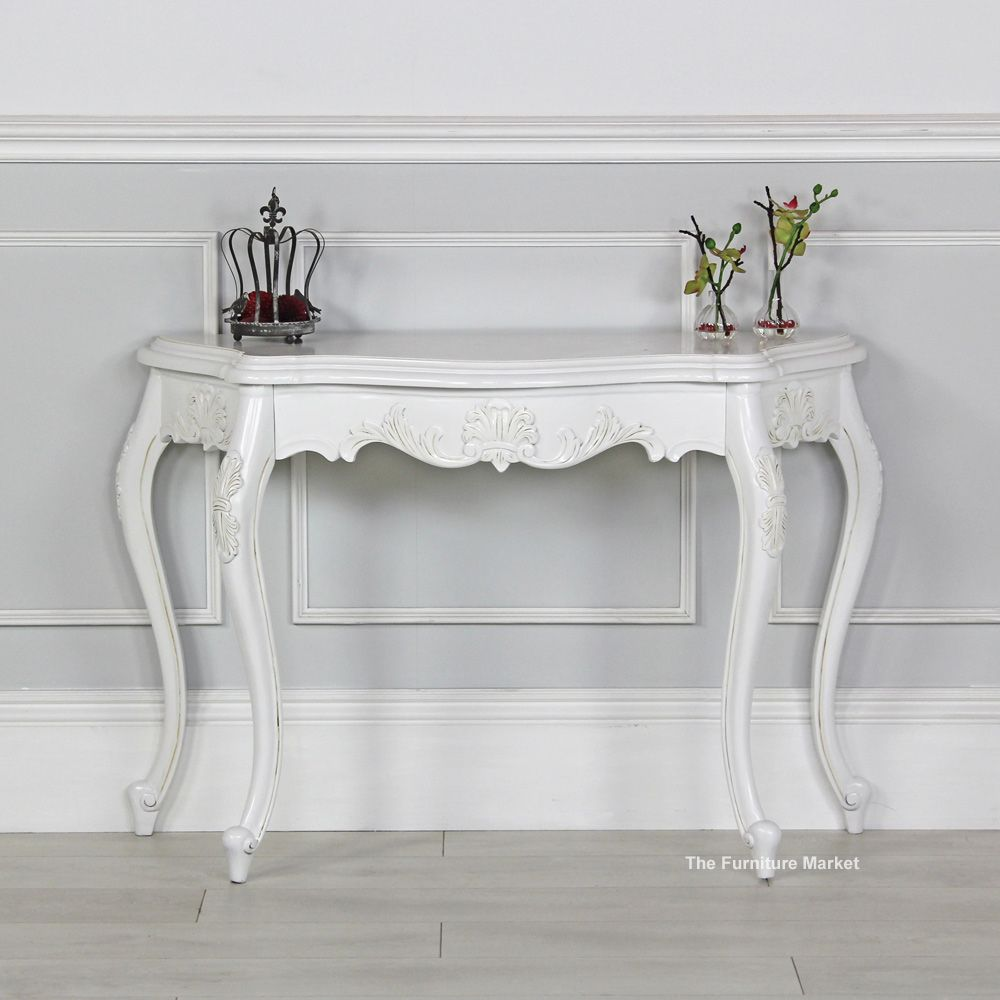 French Chateau White Painted Carved Console Table