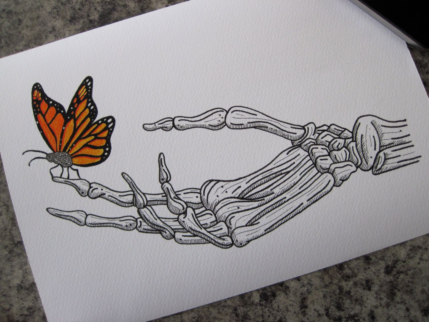 Butterfly On Skeleton Hand Print - A4 by LHartArt on Etsy | I want a ...