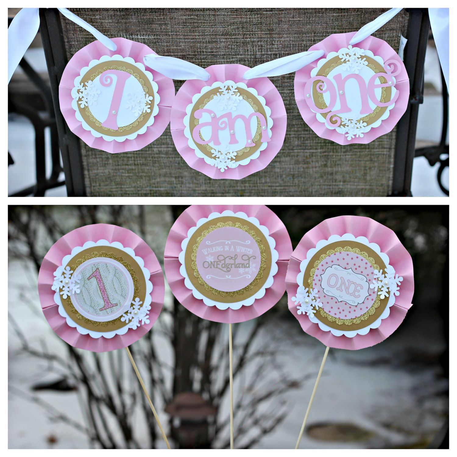 Winter ONEderland / Wonderland Birthday Party high chair banner and centerpiece.  Onederland Decorations. Pink/Gold/Snowflake. Customizable. by CharmingTouchParties on Etsy