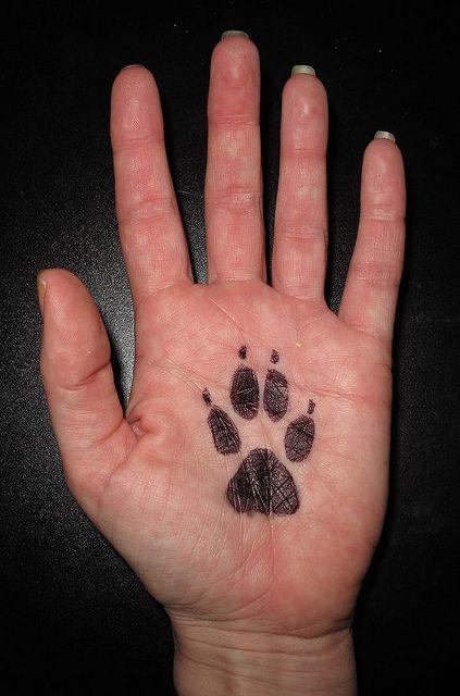Coyote Paw Print Tattoo On My Hand Tattoos Tattoos