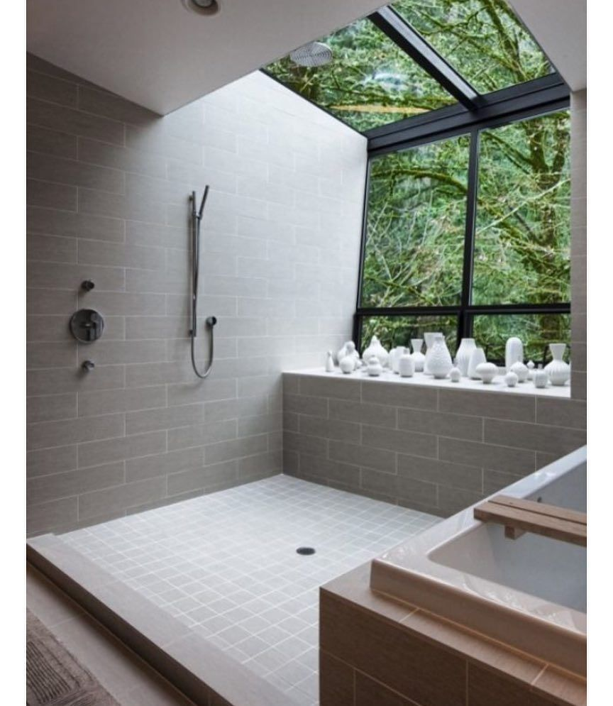 So much yes #architecture #interiordesign #minimalism #minimalist #bathroom #green #style #shower #bath #nature #design #dezeen #maison #decor #interiors #interior by decorum_interior_design