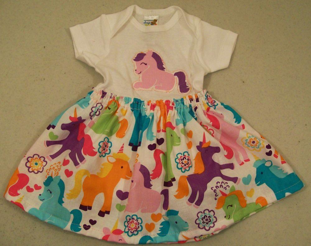 Baby Bodysuit Dress-Unicorns-Baby shower gift-NB--