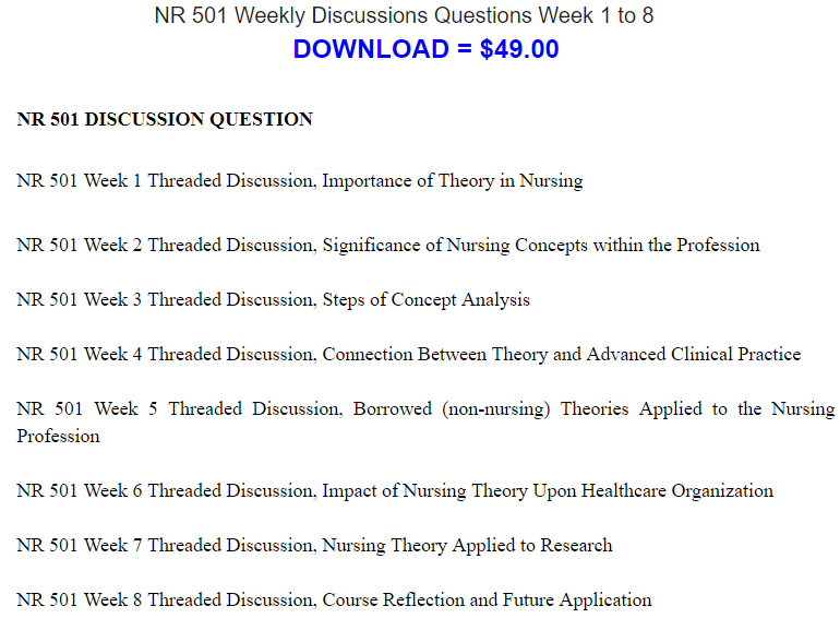 Nr 501 Weekly Discussions Questions Week 1 To 8 This Or That Questions Nursing Theory Exam Answer