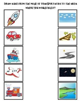 Transportation Matching Worksheet Match the mode of transportation to the place where that vehicle travels! Early Childhood Education, Preschool, PreK, Kindergarten