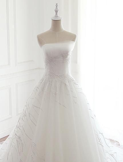 498bf8f01b Strapless Simple Lace A line Wedding Bridal Dresses