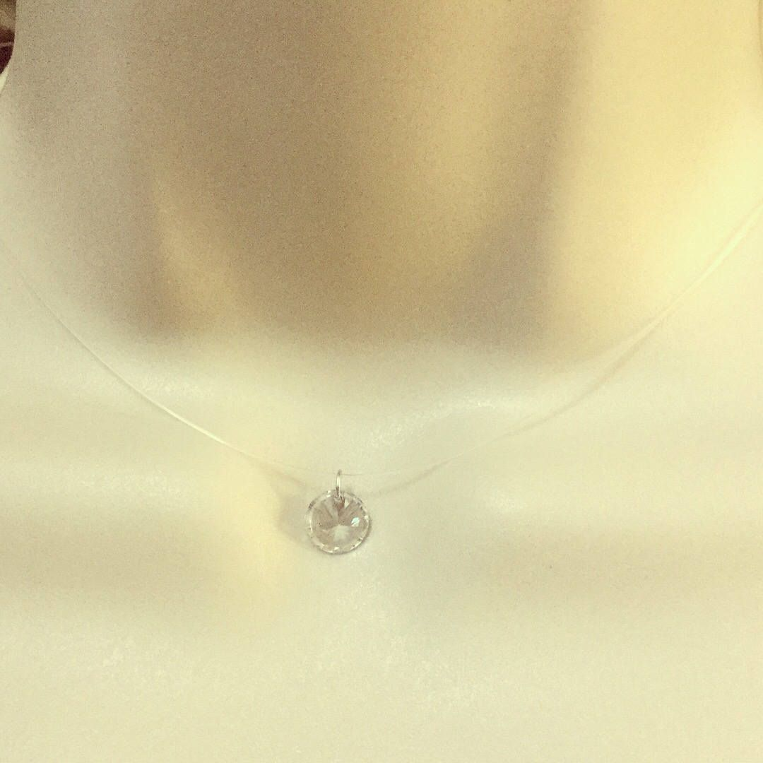 190ccb31dbb43 Invisible Necklace Floating Pendant Transparent Necklace Choker ...