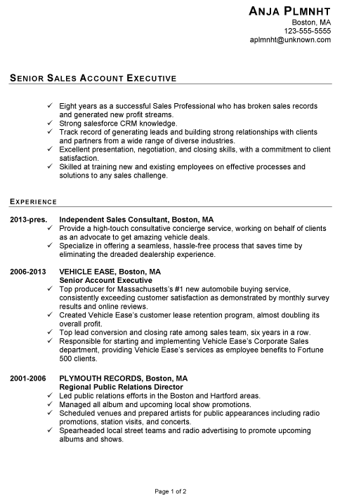 Resume For Senior Sales Account Executive Susan Ireland Resumes