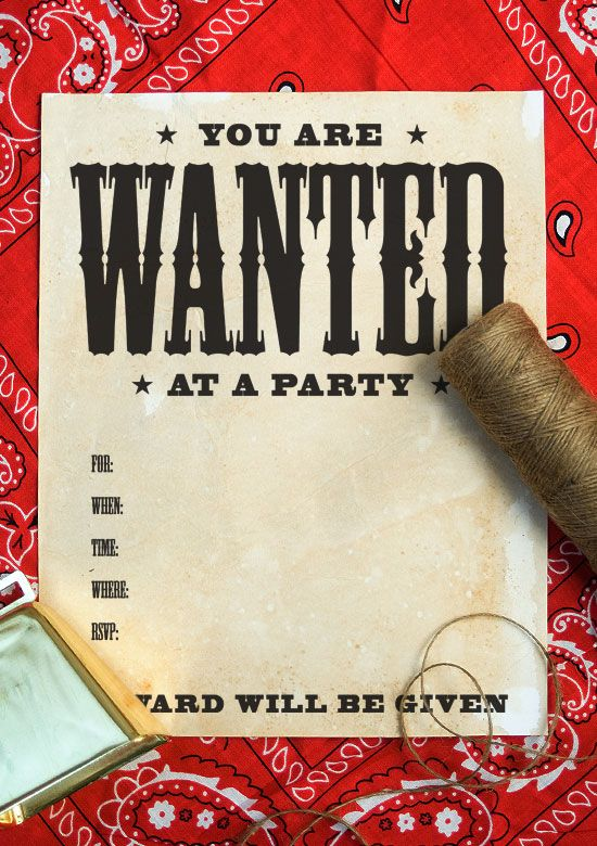 Wanted poster invitation on onecharmingparty #wildwestparty - free printable wanted poster