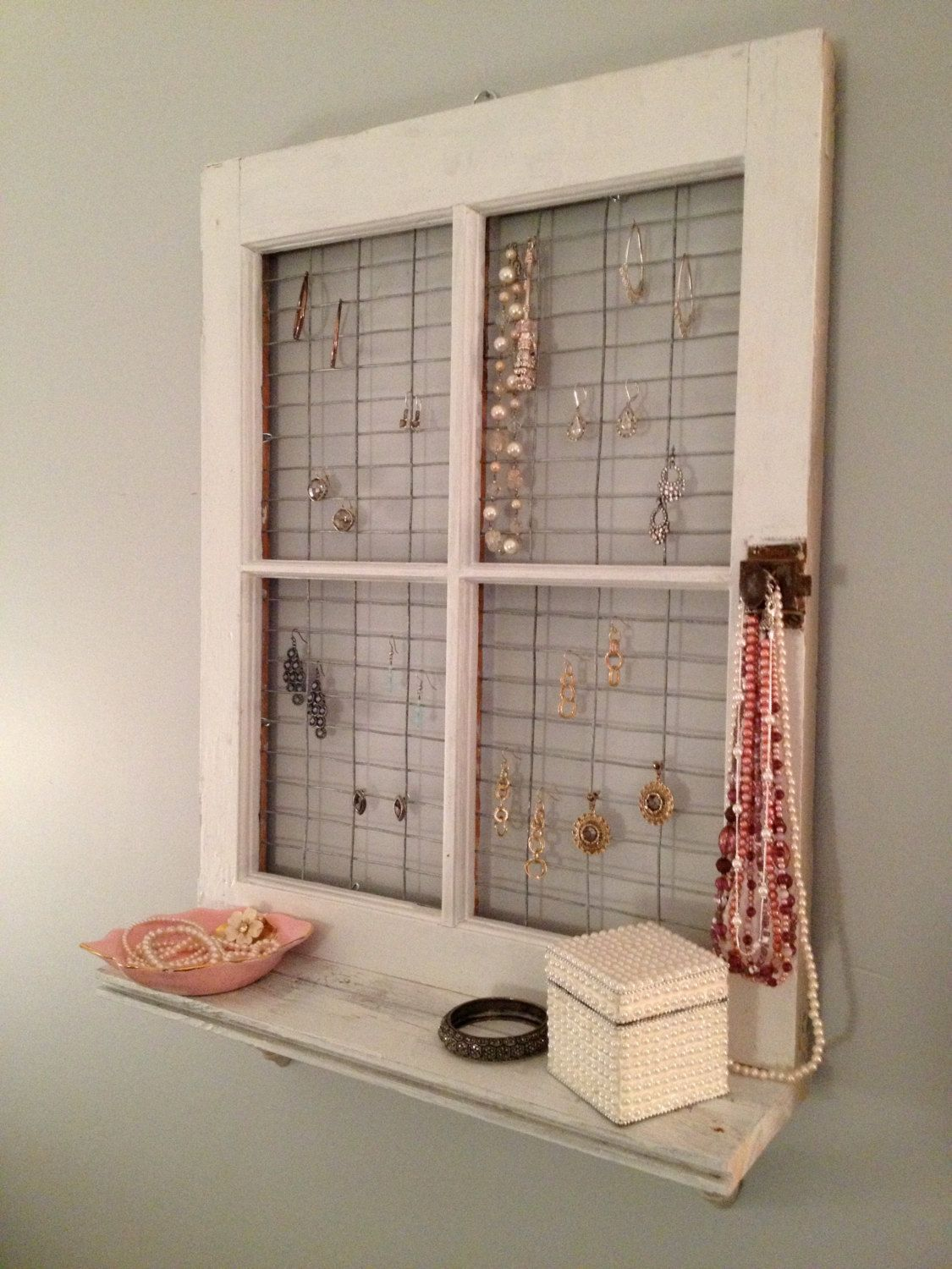 Exceptional Vintage Window Frame And Shelf Wall Decor