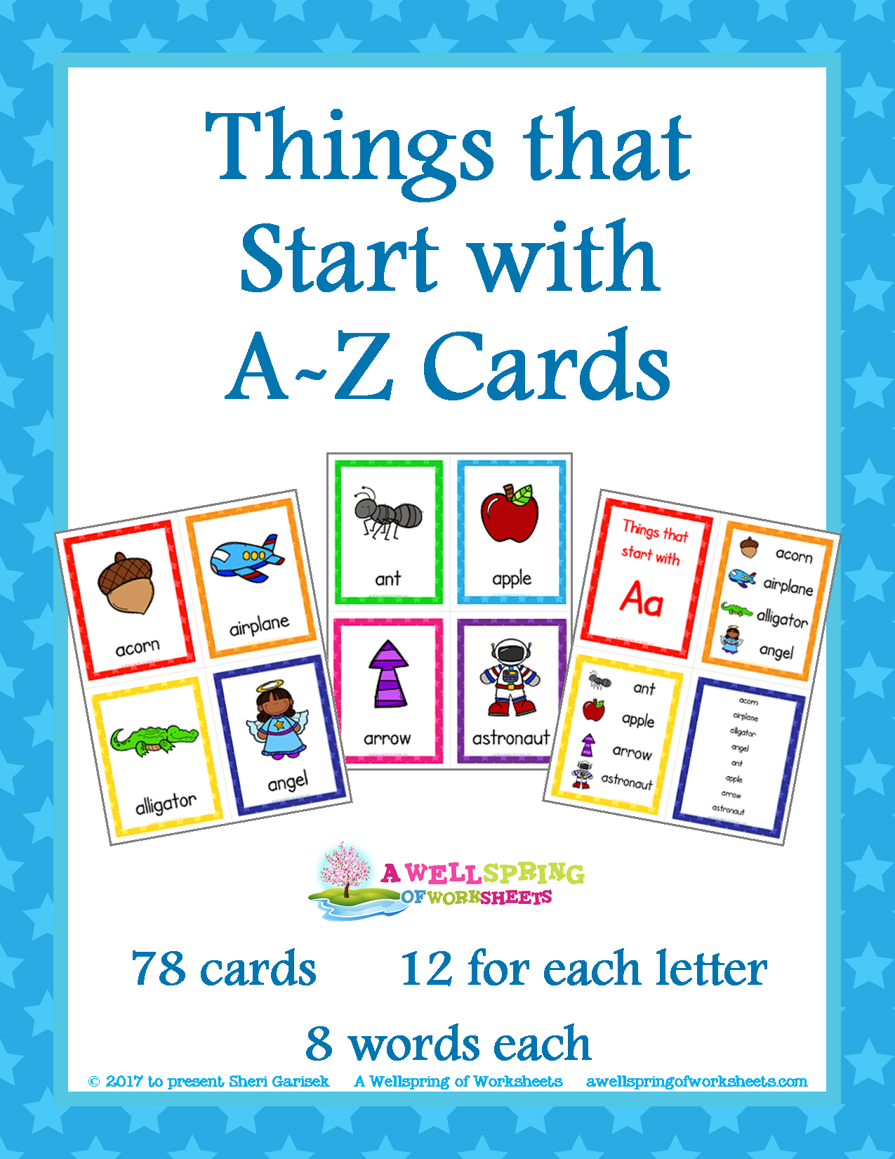 Things That Start With AZ Cards  Rainbow Colors Language Arts And