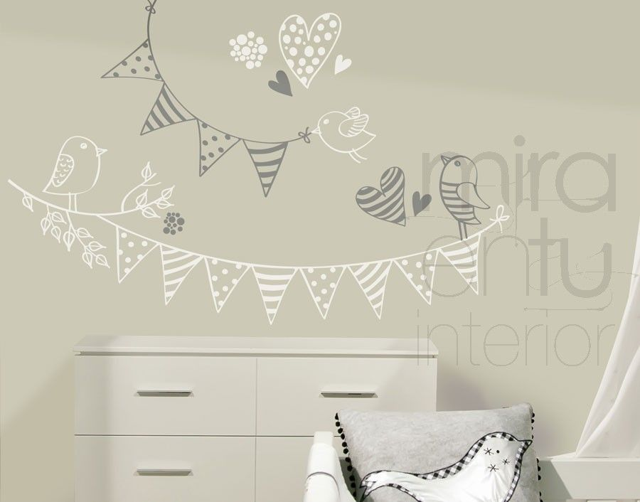 vinilo banderines y pájaros | Vinilos decorativos para habitaciones ...